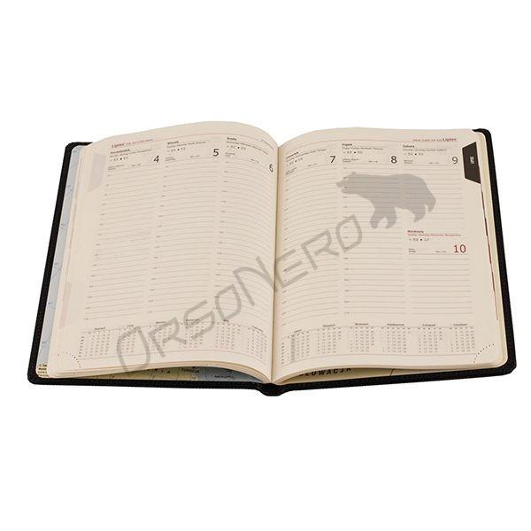 skórzany kalendarz tygodniowy