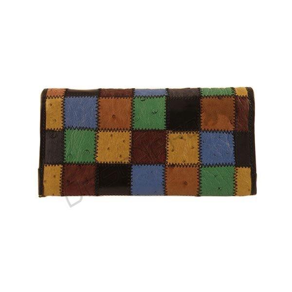Portfel damski mozaika ze skóry strusiej
