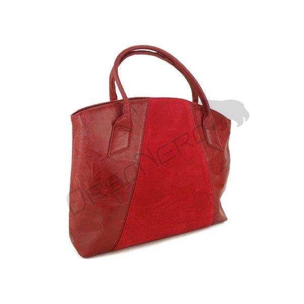 czerwona torebka skórzana z wstawką