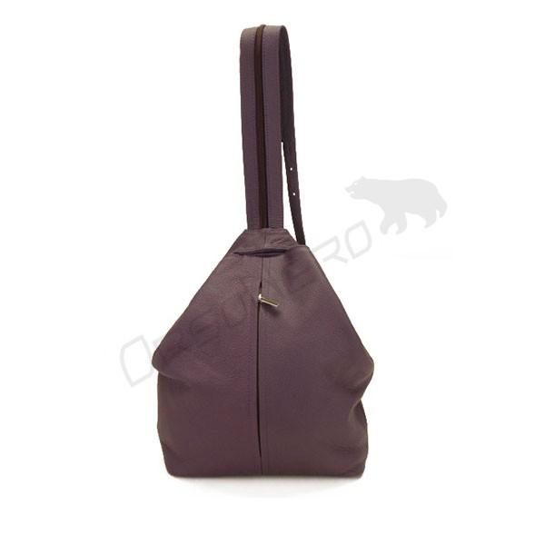 fioletowa Plecako-torebka skórzana