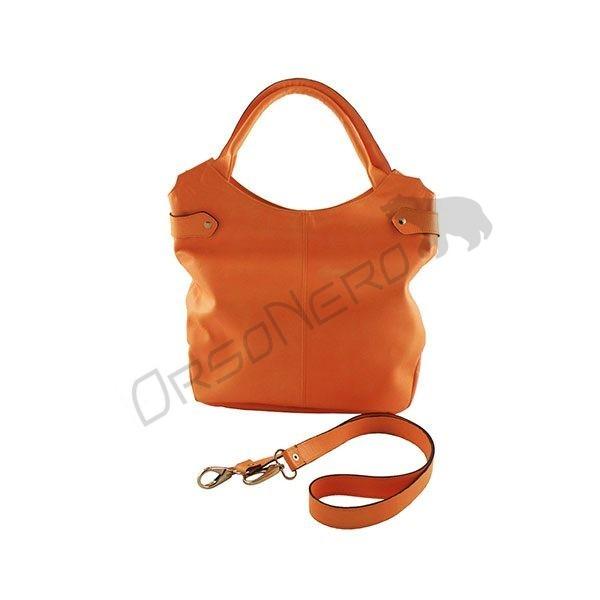 pomarańczowa torba z naturalnej skóry