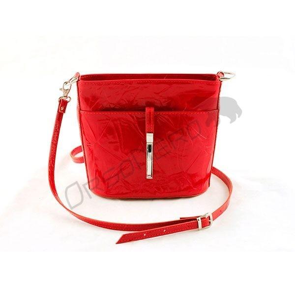 czerwona Elegancka torebka z odpinanym paskiem