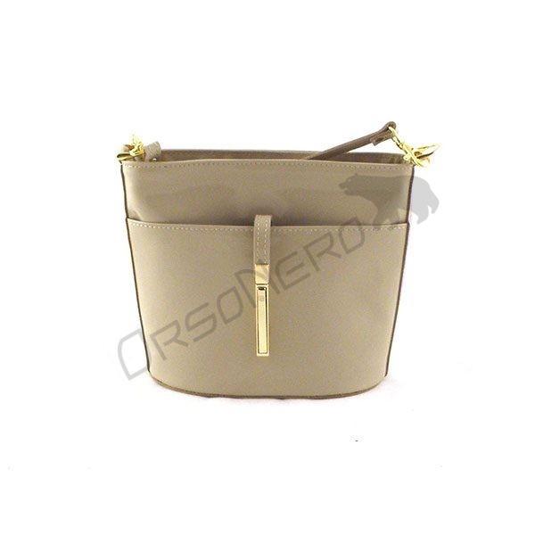 beżowa Elegancka torebka z odpinanym paskiem