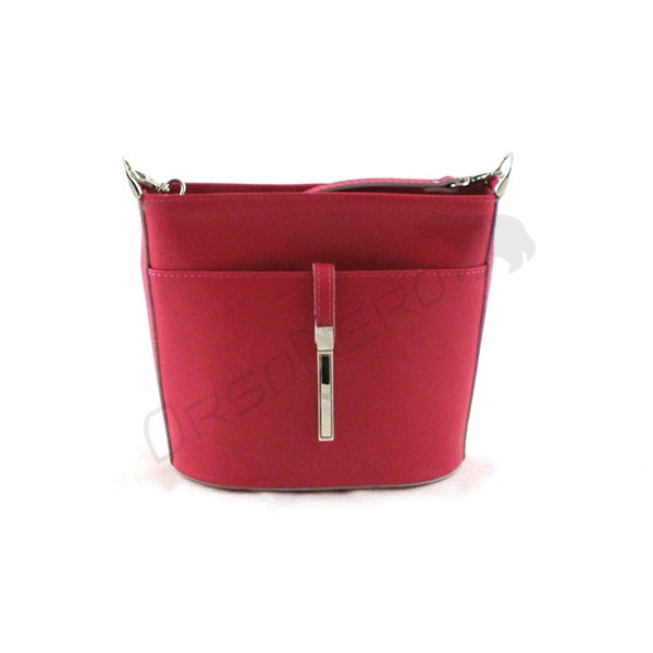 różowa Elegancka torebka z odpinanym paskiem